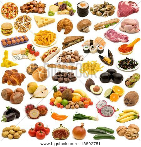 large page of food collection on white background
