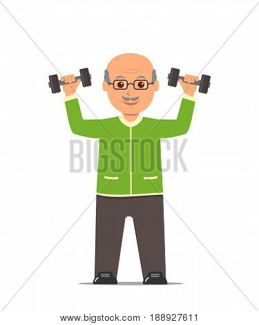 Elderly man in a sports suit trains with dumbbells. Active and healthy lifestyle old people. Vector illustration in flat style.