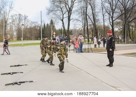 Kirishi, Russia - 9 May, Speech of a group of special forces in public, 9 May, 2017. Holiday demonstration speeches of special forces soldiers in honor of Victory Day.