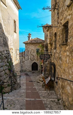 The Narrow Hilly Street In Eze
