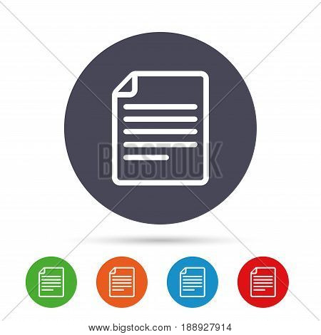 File document icon. Download doc button. Doc file symbol. Round colourful buttons with flat icons. Vector