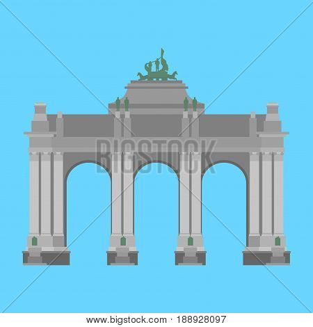 Belgium travel landmark. The triumphal arch in the park of the fiftieth anniversary in Brussels.