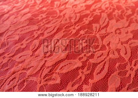 Close Up Of Coral Red Guipure With Floral Pattern