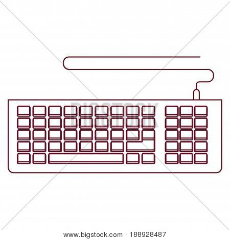 dark red line contour of computer keyboard vector illustration