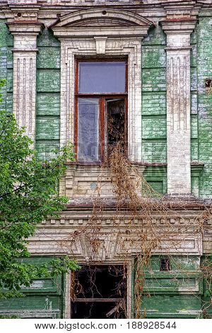 Old windows overgrown with vegetation on the facade of the old building