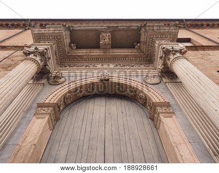 Ferrara, Italy. Portal of Prosperi-Sacrati Palace, Ercole I d'Este Avenue