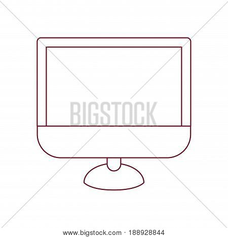 dark red line contour of lcd monitor vector illustration