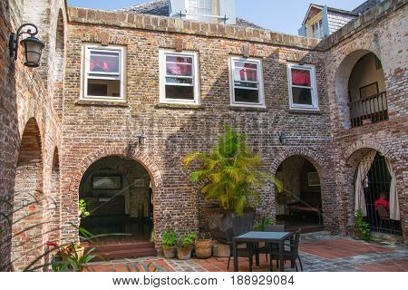 Antigua, Caribbean islands, English Harbour - May 20, 2017: Nelson's Dockyard Admiral's Inn. Inner yard and interior. Building of 18th century