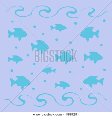 fish and bubbles in surf scattered on blue background poster