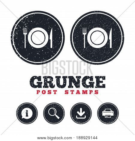Grunge post stamps. Food sign icon. Cutlery symbol. Knife and fork, dish. Information, download and printer signs. Aged texture web buttons. Vector