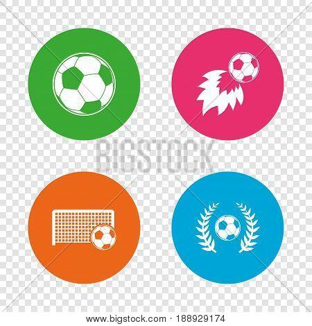 Football icons. Soccer ball sport sign. Goalkeeper gate symbol. Winner award laurel wreath. Goalscorer fireball. Round buttons on transparent background. Vector