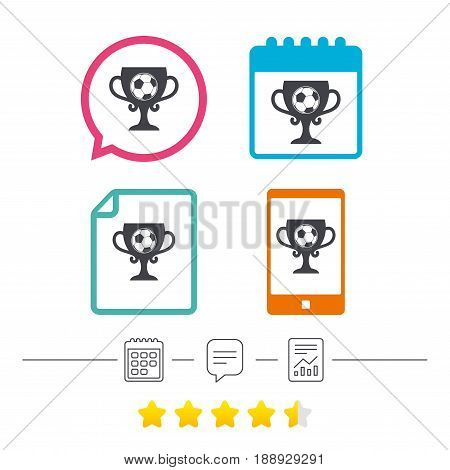 Football ball sign icon. Soccer Sport symbol. Winner award cup. Calendar, chat speech bubble and report linear icons. Star vote ranking. Vector