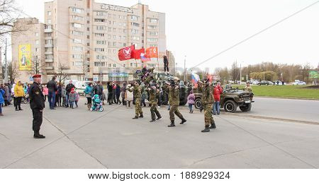 Kirishi, Russia - 9 May, Speech of a group of special forces on Victory Day, 9 May, 2017. Holiday demonstration speeches of special forces soldiers in honor of Victory Day.