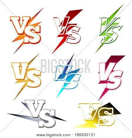 Versus or VS confrontation labels with colorful lighting isolated on white background. Vector illustration
