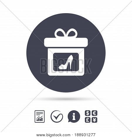 Gift box sign icon. Present with woman shoes symbol. Report document, information and check tick icons. Currency exchange. Vector