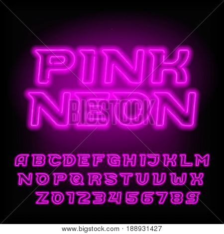 Neon tube alphabet font. Pink color type letters and numbers. Oblique vector typeface for headlines, posters, etc.