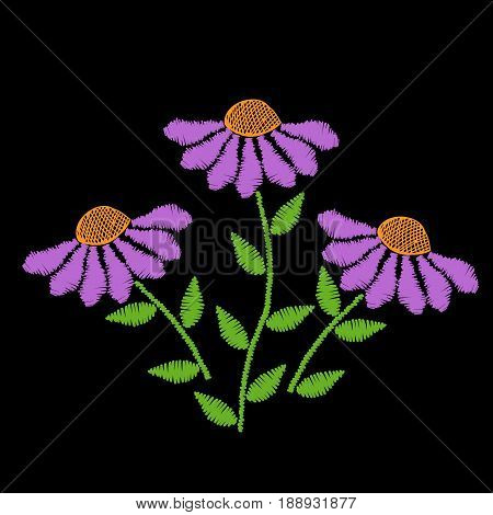 Embroidery stitches imitation flower with green leaf. Floral embroidery pattern on the black background. Vector embroidery template for printing on fabric napkin and other decoration.
