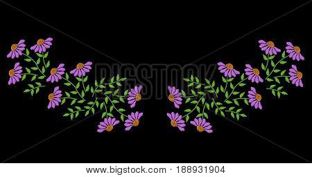 Embroidery stitches imitation folk flower and green leaf for neck line. Floral embroidery pattern on the black background. Vector embroidery template for printing on fabric napkin and other decoration.