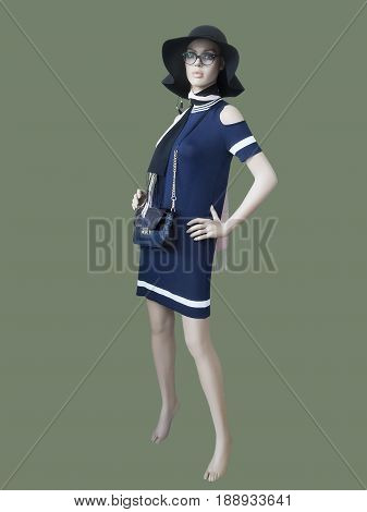 Full-length female mannequin dressed in fashionable summer clothes isolated. No brand names or copyright objects.