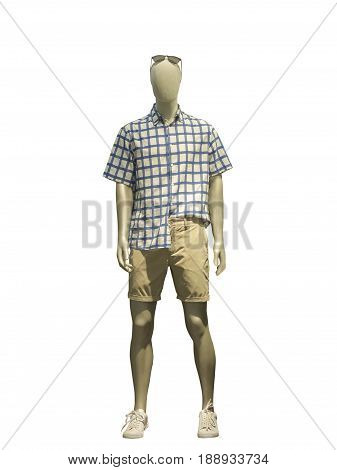Full-length male mannequin dressed in casual summer clothes isolated on white background. No brand names or copyright objects.