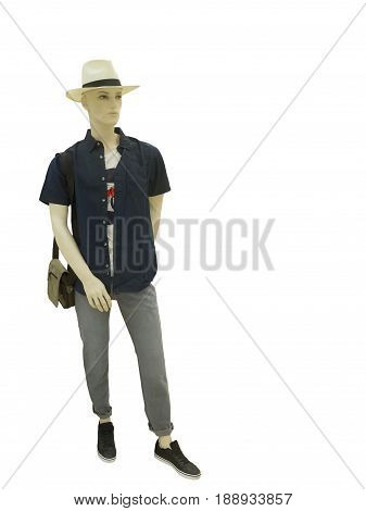 Full-length man mannequin dressed in casual clothes isolated on white background. No brand names or copyright objects.