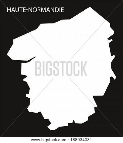 Haute-normandie France Map Black Inverted Silhouette Illustration