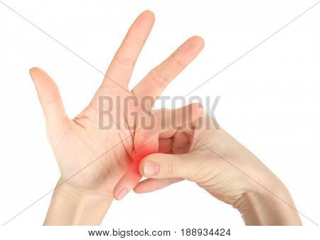 Concept of orthopedist. Woman suffering from pain in knuckle joint on white background