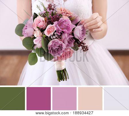 Lilac color matching palette. Bride holding bouquet, closeup