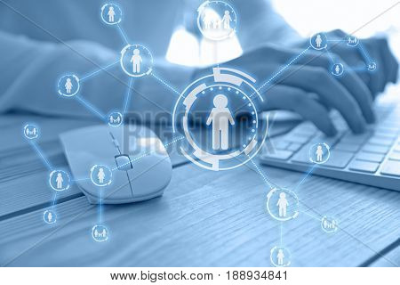 Concept of business analytics and modern technology. Mouse and woman working with computer on background, closeup