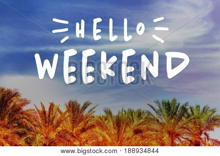 Text HELLO WEEKEND and palm trees on sky background