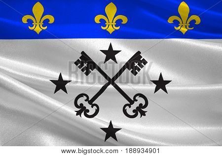 Flag of Lisieux is a commune in the Calvados department in the Normandy region in northwestern France. 3d illustration