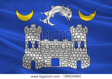 Flag of Avranches is a commune in the Manche department in the Normandy region in northwestern France. 3d illustration