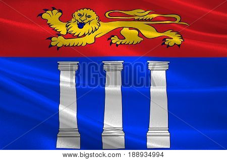 Flag of Coutances is a commune in the Manche department in Normandy in north-western France. 3d illustration