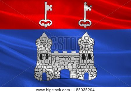 Flag of Chateau-Gontier is a commune in the Mayenne department in north-western France. 3d illustration