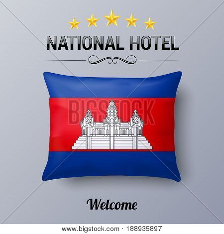 Realistic Pillow and Flag of Cambodia as Symbol National Hotel. Flag Pillow Cover with Cambodian flag