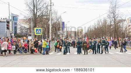 Kirishi, Russia - 9 May, Preparing people for the action is an immortal regiment, 9 May, 2017. Preparation and conduct of the action Immortal regiment in small cities of Russia.