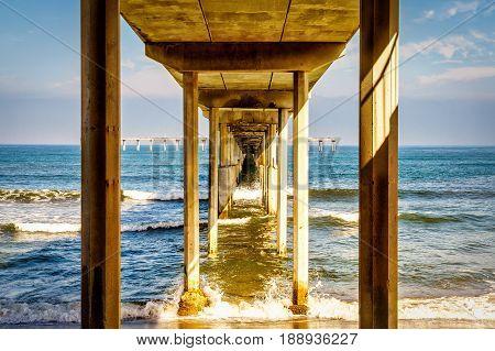 The bottom of the Ocean Beach pier near San Diego California.