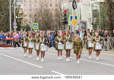 Kirishi, Russia - 9 May, Group of girls with drums, 9 May, 2017. Preparation and conduct of the action Immortal regiment in small cities of Russia.