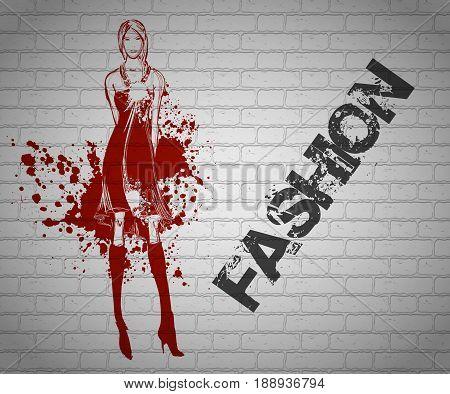 Sketch Graffiti. Fashionable Girl On A Brick Wall