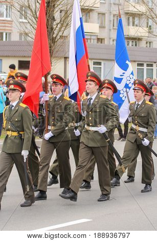 Kirishi, Russia - 9 May, Military men with flags, 9 May, 2017. Preparation and conduct of the action Immortal regiment in small cities of Russia.
