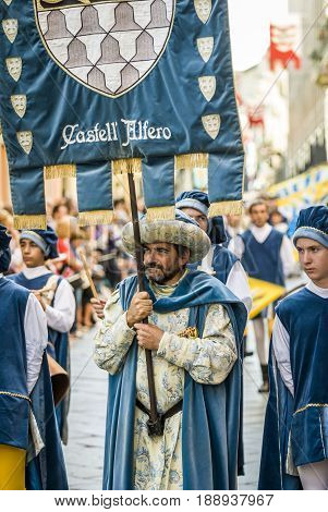 Asti, Italy - September 19, 2010: the historic Medieval parade of the Palio of Asti in Piedmont, Italy. Parade of medieval knight, Palio
