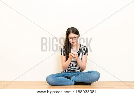 Girl Using Cell Phone Facetime Or Typing Chatting