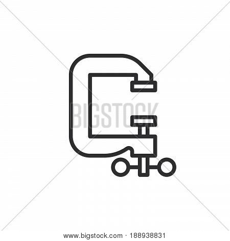C-clamp line icon outline vector sign linear style pictogram isolated on white. Symbol logo illustration. Editable stroke. Pixel perfect