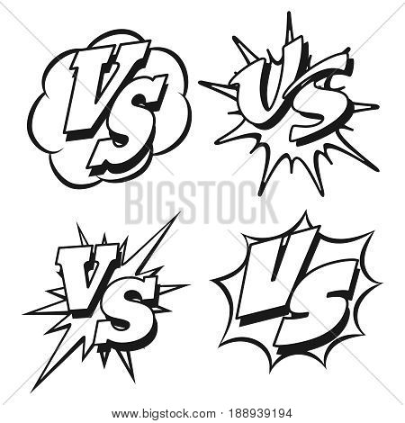 Black and white battle confrontation patches or VS letters. Vector illustration