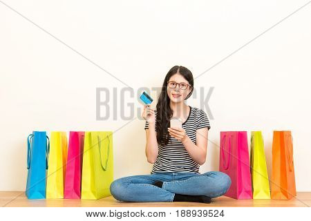 Chinese Model Using Mobile Phone Online Shopping