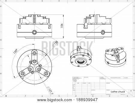 3d illustration of lathe chuks isolated on white,metallic and drawing