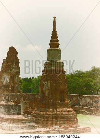 Wat Phra Mahathat temple in Phra Nakhon Si Ayutthaya Historical Park Thailand.(Vintage colors picture)
