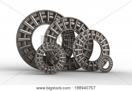 3d illustration of thrust needle bearings isolated on white