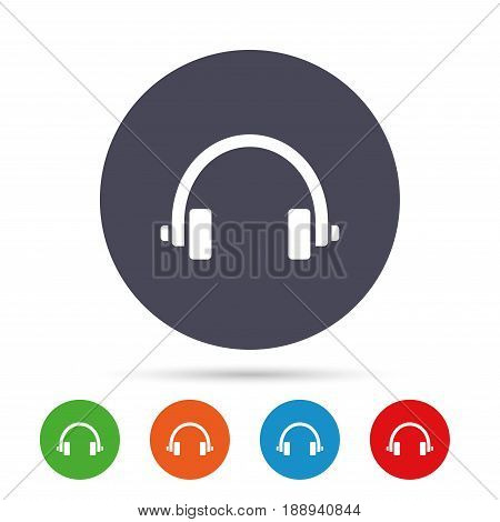 Headphones sign icon. Earphones button. Round colourful buttons with flat icons. Vector