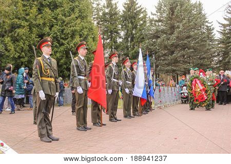 Kirishi, Russia - 9 May, Honorary ceremony of laying wreaths, 9 May, 2017. Laying wreaths and flowers in memory of the fallen at the Eternal Flame.